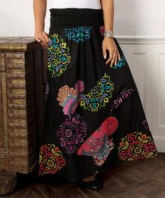 This Black & Red Arabesque Maxi Skirt - Plus is perfect! #zulilyfinds