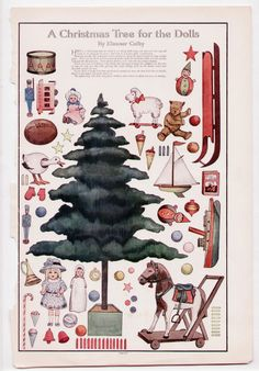 Vintage CHRISTMAS TREE FOR THE DOLLS Cut-Outs/Paper Dolls 1911 uncut/Toys/Bear+