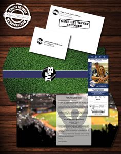Consider our deluxe package custom designed ticket invitations with trifold ticket holder.  You supply the photo, we do the rest.  #baseballwedding #stwdotcom