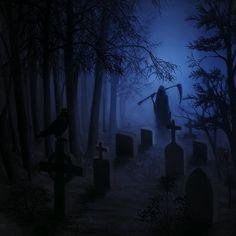 Graveyard by CuteReaper © (Please leave credit … Ƹ̴Ӂ̴Ʒ) Grim Reaper Art, Don't Fear The Reaper, Graveyard Tattoo, Old Cemeteries, Graveyards, Gothic Fantasy Art, Creepy Drawings, Satanic Art, Arte Obscura