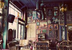 The Gypsy Den in Costa Mesa, Santa Ana, and Anaheim. Coffee okay, atmosphere was fun.