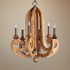 Bring nature to your home in an unexpected way with this Provincial wood grain chandelier. Takes six 60 watt candelabra bulbs (not included). Style # at Lamps Plus. Suspension Metal, Suspension Design, Wooden Chandelier, Chandelier Lighting, Chandelier Ideas, Iron Chandeliers, Accent Lighting, Candelabra Bulbs, Candle Sconces