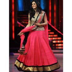 Triveni Shridevi Pink Chiffon Indian Bollywood Embroidered Lehenga CholiTSBSD05 - Lehnga by TriveniSarees