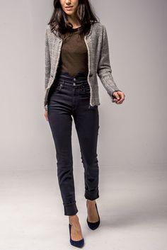 24. Grey knit raw hem jacket $629 25. Khaki crew neck tee $220   26. High rise black jean $375