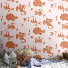 Paperboy Ere-be-dragons Stone Taupe Wallpaper - Boys Bedroom - http://godecorating.co.uk/paperboy-ere-be-dragons-stone-taupe-wallpaper/