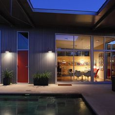 Villa Nuevo modern exterior - more awesome vertical corrugated steel siding Cladding Design, House Cladding, Metal Cladding, Metal Siding, Modern Exterior, Exterior Design, Gray Exterior, Contemporary Bedroom Decor, Steel Frame House