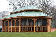 Huge Wooden Oval Gazebo - We delivery fully assembled gazebos throughout eastern Ontario and Quebec. Visit us online for fully price list ncsshelters.com