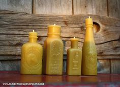 Antique Bottle Shaped BEESWAX CANDLES, Miniature Collection of 4,  100% pure beeswax- Farmer's Daughter Beeswax Candles