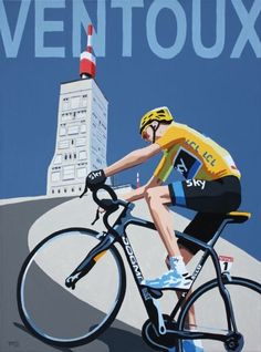 This wonderful Gicl e print features Simon s highly stylised painting of Chris Froome at the top of the iconic Mont Ventoux where he won perhaps his Bycicle Electric, Bycicle Black Cycling Quotes, Cycling Art, Cycling Bikes, Bicycle Art, Bicycle Design, Ouvrages D'art, Velo Vintage, Bike Illustration, Bike Poster