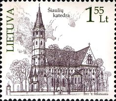 The first of two postage stamps issued by Lithuana on 3 September 2011.  This is the Cathedral of Siauliai: