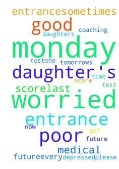 I am worried about my daughter's future..Every monday - I am worried about my daughters future..Every monday she have a test..She is doing entrance coaching for medical entrance..Sometimes she got good score..last time her score was very poor. Now she is depressed..Please pray for tomorrows test... Posted at: https://prayerrequest.com/t/Tik #pray #prayer #request #prayerrequest