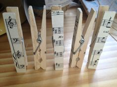 How fun are these music sheet paperclips! You can purchase them for a couple bucks from Etsy or make your own with some paper, modge podge, and clips.  #piano #diy #decor                                                                                                                                                                                 More