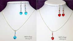 Red or Blue Heart Crystal Necklace and Earrings, Handmade Jewelry Set