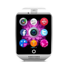 Ashbringer Smart Watch Q18 with NFC 1.3mp Camera Dial Hands-free Hd IPS Display Touch Screen Mp3 Support TF card and SIM card slot Bluetooth Smartwatch for Android and IOS Phone (White). HD IPS display, 2.5D full arc highsensitive capacitive touch screen, Anti-sweating, delicate and beautiful. Natural high facial silicone strap, acmeergonomic concave and convex design, wearing more comfortable. High quality and performance, long time standby. Variety colors, variety of mood; variety of UI...
