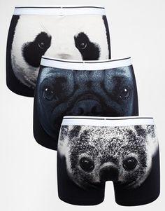 ASOS - Lot de 3 boxers à imprimé têtes d'animaux