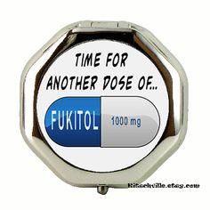 Funny FUKITOL Metal Pill Medication Case  Mini by kitschville