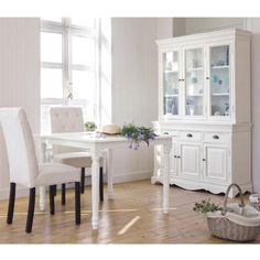 Mesa de comedor extensible de madera blanca An. 100 cm Louis | Maisons du Monde