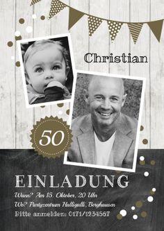 Trendy Einladungskarte zum 50. Geburtstag in Holz-Look mit Fotos und Girlande in Olivgrün #Holz #Fotokarte #Geburtstag #Einladung#EinladungGeburtstag.de