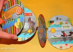 CD SCRAPBOOK - Recycle old CDs or DVDs, we even repurposed old hair accessories on this project! So fun and make a splendid gift :) Craft on my friends!!