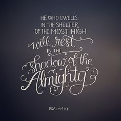 """He who dwells in the secret place of the Most High shall abide under the shadow of the Almighty. I will say of the Lord, """"He is my refuge and my fortress; My God, in Him I will trust."""" ... Because you have made the Lord, who is my refuge, even the Most Hi 