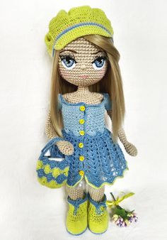 This pattern is a tutorial which includes body, dress, boots, cap, handbag, underskirt, leggings, panties and bra instructions. The eyes pattern is also included. #etsy #crochetamigurumi #crochetamigurumipattern #CrochetDollpattern #AmigurumiDollpattern #crochettoypattern #amigurumitoypattern