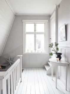 White Hallway . Staircase . Shabby Chic . Sweden . Swedish