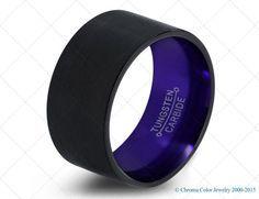 Mens Wedding Band,Black Purple Tungsten Ring,Black Wedding Bands,Colored Rings,4mm,6mm,7mm,9mm,12mm,Size,Womens,Matching,Her,Set,Anniversary