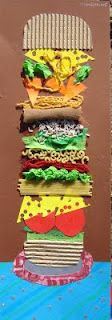 Texture, balance and variety were elements students concentrated on as they created this collage of a big sandwich