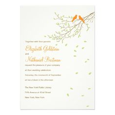 Love Birds Wedding Invitation in Orange and Green