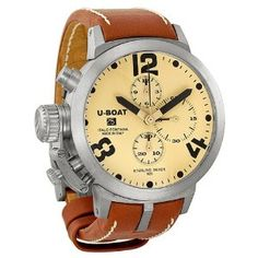 U-Boat Classico Automatic Chronograph Beige Dial Sterling Silver Mens Watch 6948