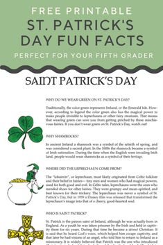 Ever wonder why we wear green on St. Patrick's day, or where the leprechaun came from? Find out with this worksheet on St. St Patricks Day History, St. Patricks Day, St Patricks Day Crafts For Kids, St Patrick's Day Crafts, St Patrick Facts, St Patrick's Day Trivia, St Patrick Day Activities, Irish Culture, Thinking Day