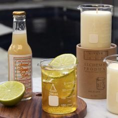 The Alchemy Produx Ginger Ale candle is a natural soy wax candle with a 50 - 80 hour burn time and a fresh and zesty scent. Ginger Ale, Soy Wax Candles, Burning Candle, Drinking, Fragrance, Bottle, Food, Drinks, Drink