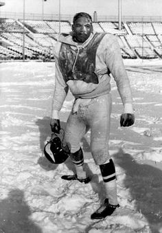 Dec., 1961: Vikings football great Jim Marshall stands in the snow at the old Met Stadium.