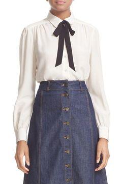 KATE SPADE bow tie silk blouse. #katespade #cloth #