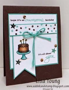 SU! Endless Birthday Wishes stamp set; colors are Coastal Cabana and Chocolate Chip; Banners Framelits; Polka Dot embossing folder - Lisa Young