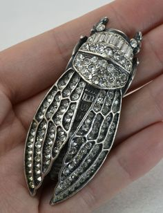 ASKEW LONDON Sparkly Paste & Silver Plated CICADA Insect Bug Brooch - HUGE!