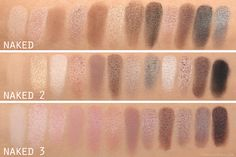 Naked, Naked 2, Naked 3 Swatch comparison.