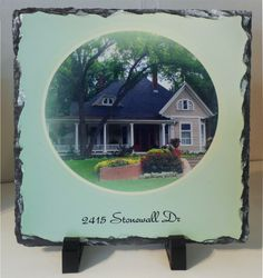 Slate Address Plaque Personalized Gift. Custom printing Sublimated Personalized Rock Plaque w/address. Picture Display by KALUCAart on Etsy