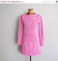 1960s dress/ mod pink dress/ 60s two Milkteeths