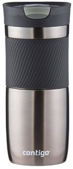 Contigo SnapSeal Vacuum-Insulated Stainless Steel Travel Mug 16-Ounce Gunmetal #Contigo