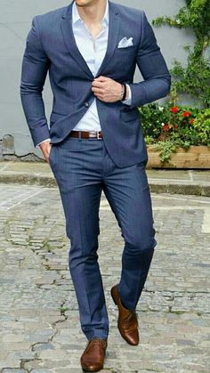 The Blue Suit Collection Mens Fashion Suits, Mens Suits, Man Fashion, Traje Casual, Wedding Dress Men, Man Dressing Style, Casual Wear For Men, Men Formal, Men's Wardrobe