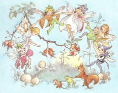 """""""Fairies and Giants"""", Collins Wonder Colour Books, Illustrated by Rene Cloke. Baby Fairy, Love Fairy, Magical Creatures, Fantasy Creatures, Illustrations, Illustration Art, Fairy Pictures, Vintage Fairies, Mystique"""