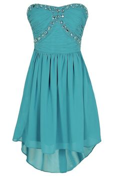 Beads of Light Embellished High Low Dress in Turquoise www.lilyboutique.com