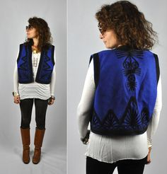 Unisex Embroidered Wool VEST Ethnic Boho Tribal by ItaLaVintage