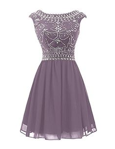 This short scoop neckline dress is perfectly showed in romantic hunter chiffon fabric,which is excellent for a comfortable and graceful touching. Rhinestones and beaded details on the bodice look much sparkle from every angle.Hand-made and Gorgeous design makes the dress appropriate for a homecoming, a cocktail evening party, or other occasions.