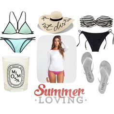 Summer Must Haves by taylorreesedesign on Polyvore featuring Billabong, Victoria's Secret, Beach Sexy, Tkees, Eugenia Kim and Diptyque