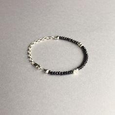 Modern Minimalist style; this dainty black Spinel & silver faceted Pyrite bracelet makes the perfect everyday 'go to' bracelet! ($28) #beadedbracelet #daintybracelet #modernjewelry