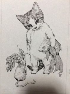 Illustration By Yuko Higuchi Art Et Illustration, Illustrations, Cat Drawing, Painting & Drawing, Drawing Ideas, I Love Cats, Crazy Cats, Cat Art, Sketches