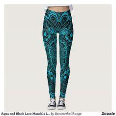 Aqua and Black Lace  Mandala  Leggings  zazzle Sports Leggings 63bf60cbe47
