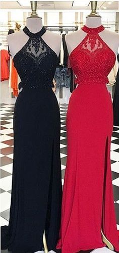 New Arrival Sexy Prom Dress,Sexy Backless Prom Dresses with Beaded,Sleeveless Prom Dresses,Halter Evening Dress,Long Prom Gown